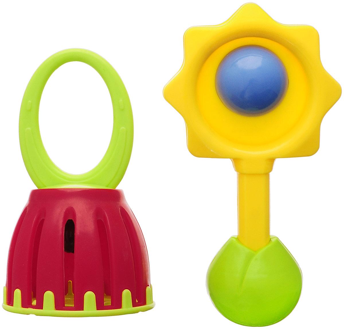 Ути-Пути Набор погремушек Гремелки-звенелки цвет желтый зеленый бордовый 2 шт
