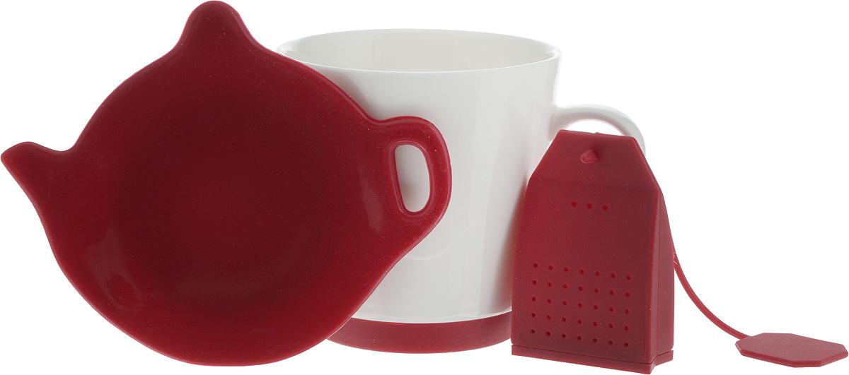 """Набор для чая """"Oursson"""": кружка, ситечко, подставка, цвет: красный, белый"""