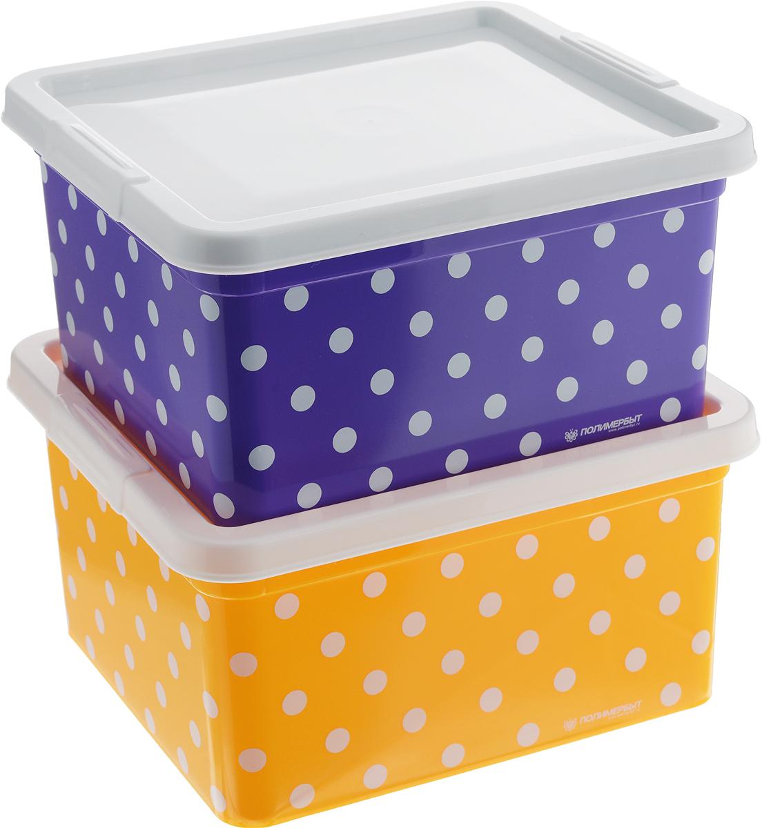 Набор контейнеров для мелочей Полимербыт Горох, цвет: фиолетовый, желтый, белый, 2 штSGHPBKP67Набор Полимербыт Горох, состоящий из двух контейнеров, выполнен из высококачественного цветного пластика и декорирован принтом в горох. Изделия оснащены крышками. Контейнеры очень вместительные и помогут вам хранить все необходимые мелочи в одном месте.