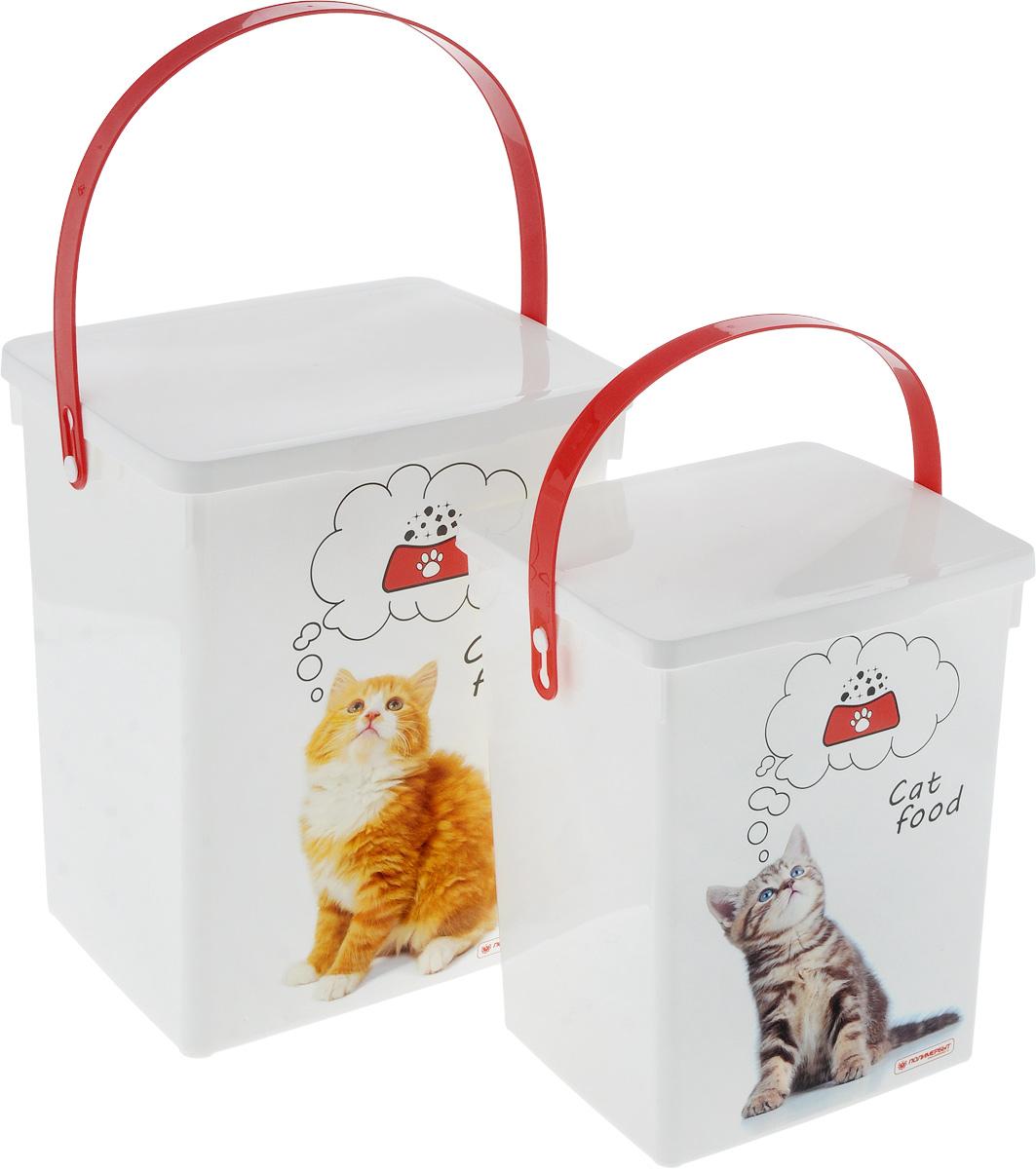 Набор контейнеров для корма животных Полимербыт, 2 шт. SGHPBKP52SGHPBKP52Удобный набор Полимербыт состоит из двух контейнеров для хранения корма животных, которые выполнены из пластика и оформлены оригинальным рисунком с изображением котят. Многофункциональная вещь, которая пригодиться в быту для любых случаев. Удобные контейнеры в использование и хранении. Объём контейнеров: 5 л; 8,5 л.