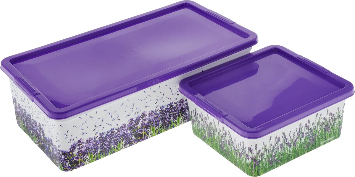 Комплект коробок для хранения Полимербыт Лаванда, 2 штSGHPBKP100Комплект Полимербыт Лаванда состоит из двух коробок для хранения мелочей, которые выполнены из пластика и оформлены оригинальным рисунком. Изделие подойдет для хранения различных бытовых предметов. Удобные в использовании и хранении. Размеры контейнеров: 34 х 18,5 х 12 см; 18,5 х 16 х 9 см. Объем контейнеров: 1,9 л; 5,5 л.