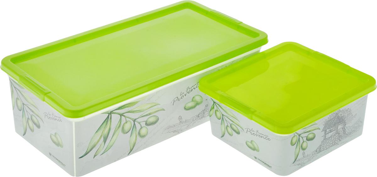 Набор контейнеров для хранения Полимербыт Прованс, цвет: белый, салатовый, 2 предмета. SGHPBKP79SGHPBKP79Комплект Полимербыт Прованс состоит из двух контейнеров для хранения мелочей, которые выполнены из пластика и оформлены оригинальным рисунком. Изделие подойдет для хранения различных бытовых предметов. Удобные в использовании и хранении. Размеры контейнеров: 34 х 18,5 х 12 см; 18,5 х 16 х 9 см. Объем контейнеров: 1,9 л; 5,5 л.