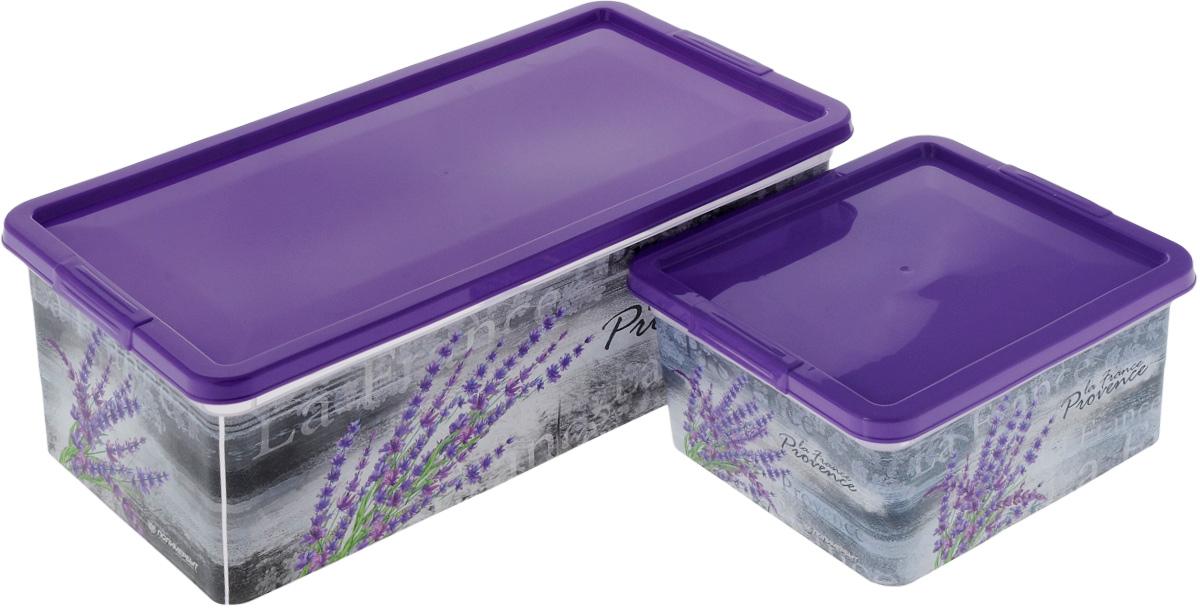 Набор контейнеров для хранения Полимербыт Прованс, цвет: сиреневый, 2 предмета. SGHPBKP78SGHPBKP78Набор Полимербыт Прованс состоит из двух контейнеров для хранения мелочей, которые выполнены из пластика и оформлены оригинальным рисунком. Изделие подойдет для хранения различных бытовых предметов. Удобные в использовании и хранении. Размеры: 34 х 18,5 х 12 см; 18,5 х 16 х 9 см. Объем: 1,9 л; 5,5 л.