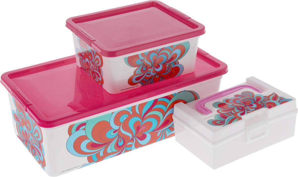 Набор контейнеров для хранения Полимербыт Домашний, 3 предмета. SGHPBKP40SGHPBKP40Набор Полимербыт Домашний состоит трех контейнеров для хранения мелочей, которые выполнены из пластика и оформлены оригинальным рисунком. Изделие подойдет для хранения различных бытовых предметов. Удобные в использовании и хранении. Размеры: 34 х 18,5 х 12 см; 18,5 х 16 х 9 см; 17 x 10 x 7,5 см. Объем: 1,9 л; 5,5 л; 0,8 л.