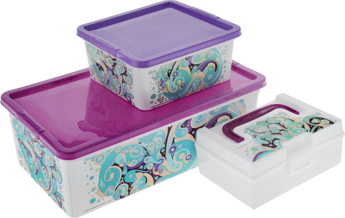 Набор контейнеров для хранения Полимербыт Домашний, 3 предмета. SGHPBKP41SGHPBKP41Набор Полимербыт Домашний состоит трех контейнеров для хранения мелочей, которые выполнены из пластика и оформлены оригинальным рисунком. Изделие подойдет для хранения различных бытовых предметов. Удобные в использовании и хранении. Размеры: 34 х 18,5 х 12 см; 18,5 х 16 х 9 см; 17 x 10 x 7,5 см. Объем: 1,9 л; 5,5 л; 0,8 л.
