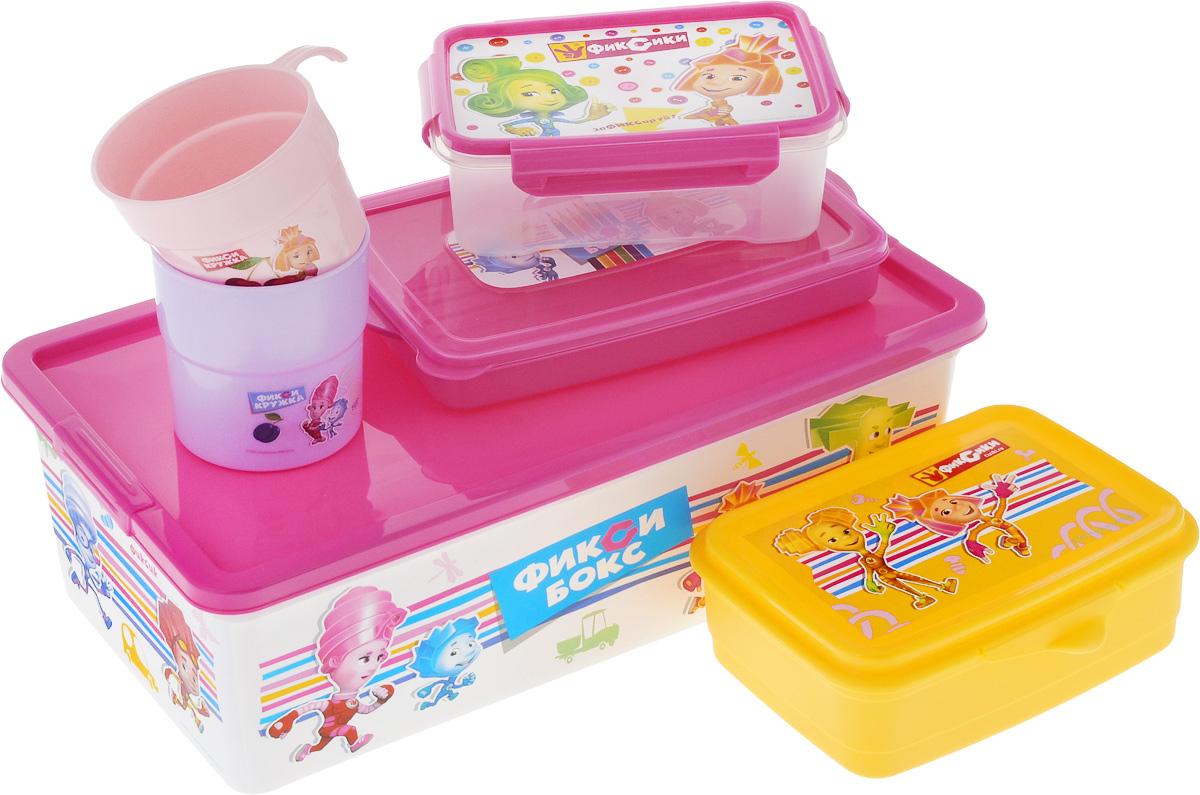 Набор для хранения Полимербыт Фиксики, 6 предметовSGHPBKP24Набор из шести предметов Фиксики изготовлен из качественного пластика. В набор входит: контейнер для фломастеров и карандашей, контейнер для завтрака, две пластиковых кружки, ланчбокс, коробка для мелочей. Легкий и надежный пластиковый контейнер для завтрака подходит для использования в СВЧ. Вы можете взять его с собой в путешествие и в любой подходящий момент разогреть свой бутерброд, котлету или булочку в микроволновой печи без лишних затрат времени. Контейнеры из качественного пластика никогда выскользнут из рук в неподходящий момент, не разобьются на осколки, не займут много места в вашей сумке. Удобные в использовании и хранении принадлежности. Объем контейнера для фломастеров и карандашей : 0,6 л. Объем контейнера для завтрака: 0,75 л. Объем кружек: 0,25 л; 0,3 л. Объем ланчбокса: 0,75 л. Объем коробки для мелочей: 5,5 л.