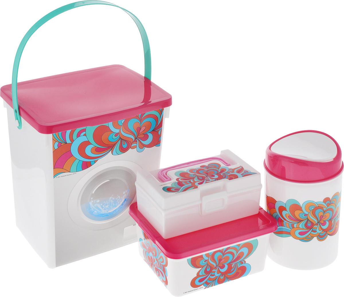 Набор контейнеров для хранения Полимербыт Домашний, цвет: белый, розовый, 4 шт. SGHPBKP42SGHPBKP42Комплект Полимербыт Домашний подходит для хранения различных предметов, изготовлен из качественного пластика и оформлен принтом с узорами. Комплект включает в себя четыре предмета: контейнер для мусора, контейнер для мелочей с удобной пластиковой ручкой и вкладышем, коробка для мелочей и один контейнер для стирального порошка . Многофункциональный комплект, пригодится в быту для любых случаев. Удобные в использовании и хранении. Объём контейнера для мусора: 1,6 л. Объём контейнера для мелочей: 0,8 л. Объём коробки для мелочей: 1,9 л. Объём контейнера для стирального порошка: 8,5 л.