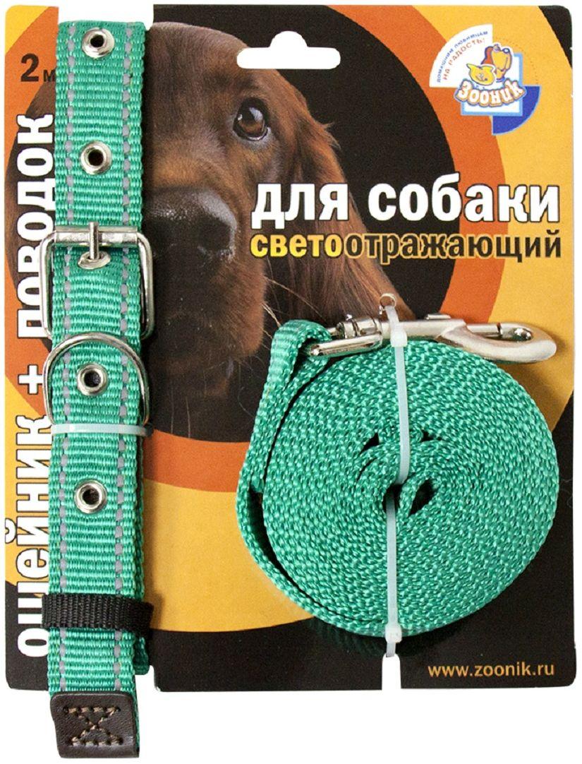 Комплект Зооник: поводок 2м, ошейник 37-51 см х 25 мм, со светоотражающей лентой, цвет: зеленый1352-1Поводок Зооник, капроновый комплект для выгула собак со светоотражающей лентой (ошейник + поводок). Идеально подходит для прогулок в темное время суток. Длина поводка 2м. Ширина ленты 25мм. Цвет зеленый.