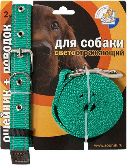 Комплект Зооник: поводок 2м, ошейник 33-47 см х 20 мм, со светоотражающей лентой, цвет: зеленый1354-1Поводок Зооник, капроновый комплект для выгула собак со светоотражающей лентой (ошейник + поводок). Идеально подходит для прогулок в темное время суток. Длина поводка 2м. Ширина ленты 20мм. Цвет зеленый.