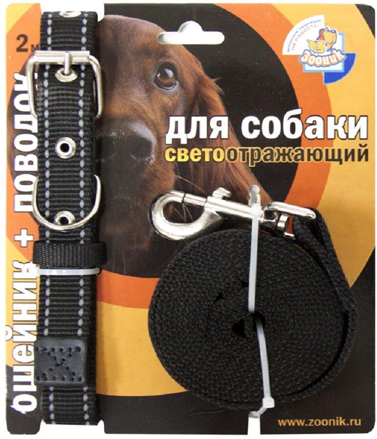 Комплект Зооник: поводок 2м, ошейник 33-47 см х 20 мм, со светоотражающей лентой, цвет: черный1354Поводок Зооник, капроновый комплект для выгула собак со светоотражающей лентой (ошейник + поводок). Идеально подходит для прогулок в темное время суток. Длина поводка 2м. Ширина ленты 20мм. Цвет черный.