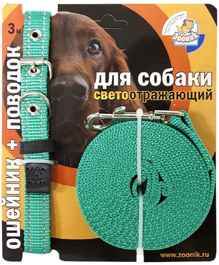 Комплект Зооник: поводок 3м, ошейник 33-47 см х 20 мм, со светоотражающей лентой, цвет: зеленый1355-1Поводок Зооник, капроновый комплект для выгула собак со светоотражающей лентой (ошейник + поводок). Идеально подходит для прогулок в темное время суток. Длина поводка 3м. Ширина ленты 20мм. Цвет зеленый.