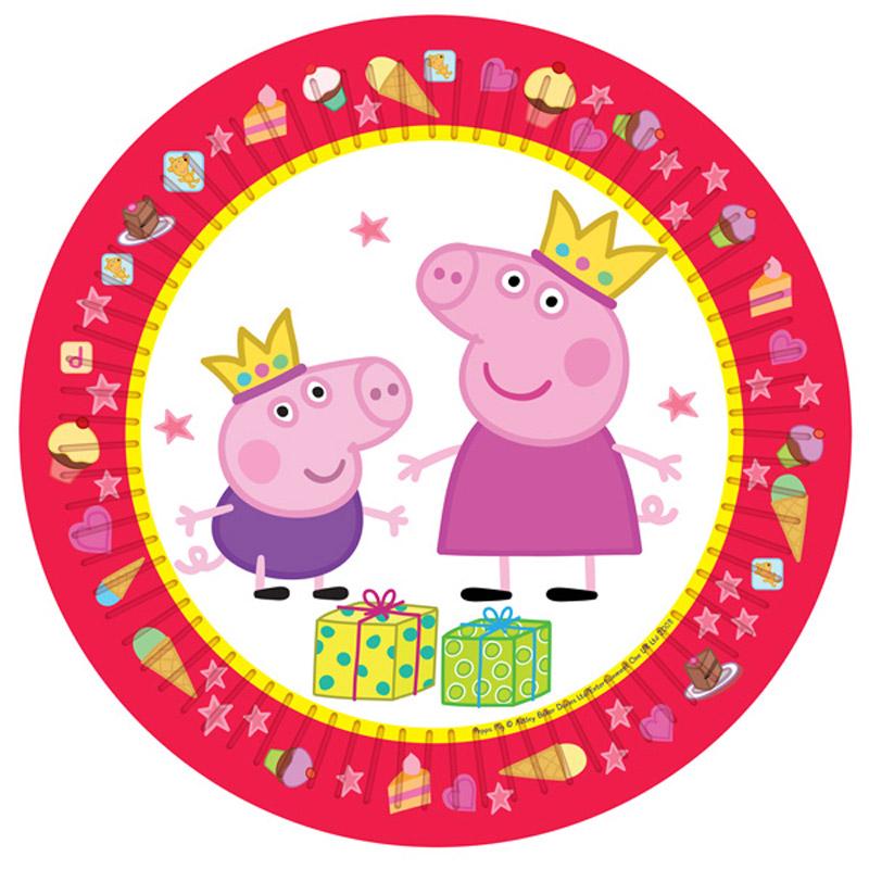 Peppa Pig Тарелка Пеппа-принцесса 6 шт28555_розовый, белыйОдноразовые тарелки Пеппа-принцесса с ярким, жизнерадостным дизайном стильно украсят праздничный стол и поднимут всем настроение. А на пикнике они просто необходимы! Их практическую пользу невозможно переоценить: они почти невесомы, не могут разбиться, их не надо мыть. Выполненные из картона, они абсолютно безопасны. В наборе 6 бумажных тарелок диаметром 23 см.