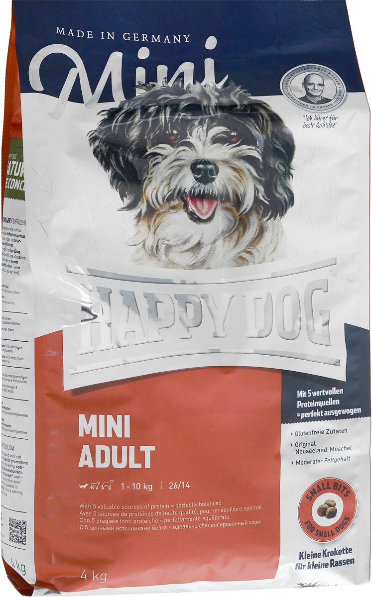 Корм сухой Happy Dog Adult для взрослых собак мелких пород, 4 кг60002Happy Dog Adult - полнорациональный корм для собак мелких пород. Слишком большое количество белка и жира нередко становится для наших собак причиной множества хронических заболеваний - прежде всего при недостатке физической активности! Помочь может сбалансированное, не слишком калорийное питание, соответствующее реальным потребностям собаки с нормальной активностью. Сухой корм Happy Dog Adult содержит 26% легко усваиваемого белка высшего качества и адекватное количество жира - 14% - с жизненно необходимыми Омега-3- и Омега-6- ненасыщенными жирными кислотами, которые производятся из ценного сырья животного и растительного происхождения. Состав: кукуруза, птица, птичий жир, рисовая мука, картофель, лосось, рыба, ягненок, масло из семян подсолнечника, свекольная пульпа, яблочная пульпа (0,6%), рапсовое масло, сухое цельное яйцо, хлорид натрия, дрожжи, хлорид калия, морские водоросли (0,15%), семя льна (0,15%), мясо моллюска (0,02%),...