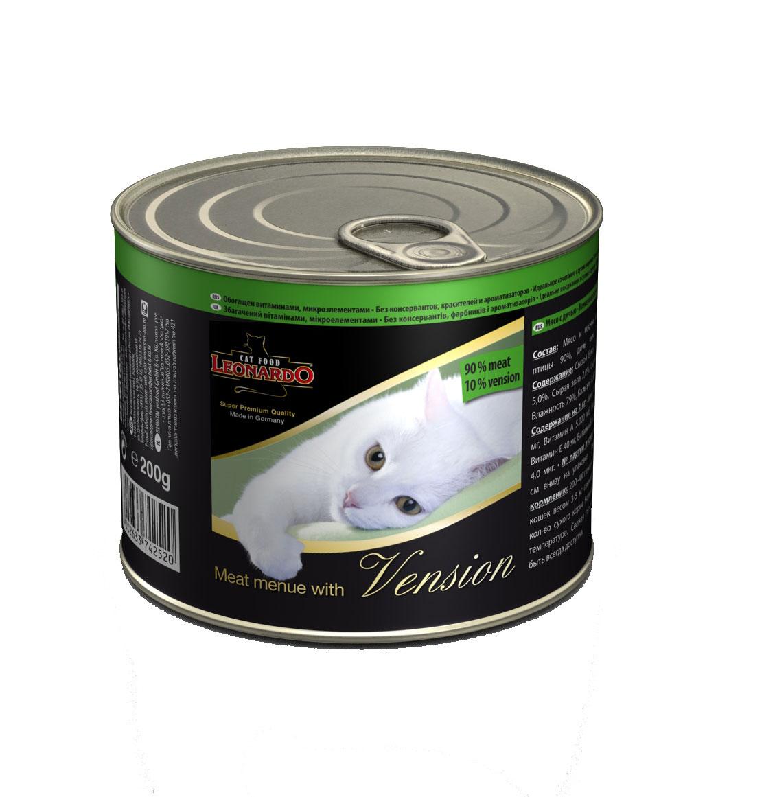 Консервы для кошек Leonardo, мясо с дичью, 200 г53616Консервы Leonardo - 100% мясные консервы для кошек, выполненные в виде нежного фарша. Консервы состоят исключительно из отборных натуральных компонентов и не содержат сою, искусственные красители и усилители вкуса. Состав: 90% мясо птицы, 10% дичь, минералы. Анализ состава: сырой белок 12%, сырой жир 5%, сырая клетчатка 0,4%, сырая зола 2%, влажность 79%, кальций 0,32%, фосфор 0,18%. Содержание на 1 кг: цинк 15 мг, марганец 1,5 мг, витамин А 5000 МЕ, витамин Е 40 мг, витамин D3 250 МЕ, витамин В2 0,8 мг, витамин В12 4,0 мг. Вес: 200 г. Товар сертифицирован.