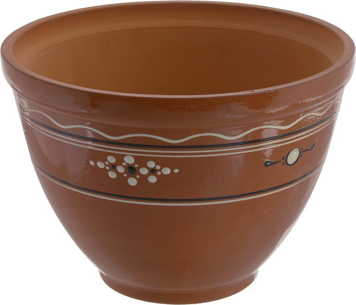 Горшок для цветов Ломоносовская керамика, 2,5 лЛ4819Горшок Ломоносовская керамика выполнен из глины. Внешние стенки изделия покрыты глазурью и оформлены оригинальным рисунком. Горшок предназначен для выращивания цветов, растений и трав. Он порадует вас функциональностью, а также украсит интерьер помещения. Объем: 2,5 л. Диаметр горшка (по верхнему краю): 20 см. Высота горшка: 15 см.