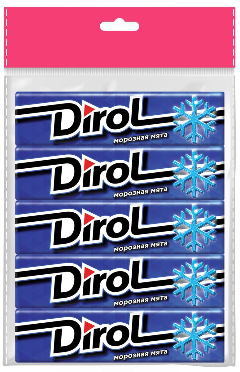 Dirol Жевательная резинка Морозная Мята без сахара, 5 шт по 13,6 г