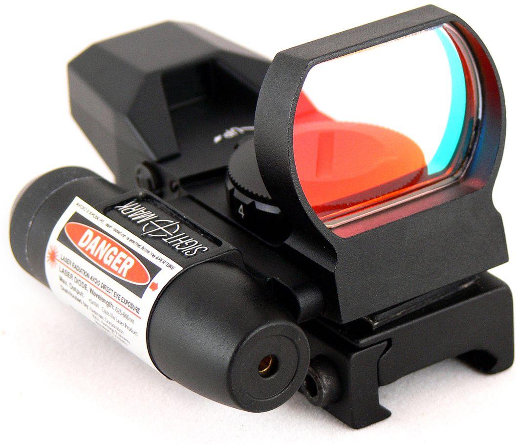 Прицел коллиматорный Sightmark, панорамный с ЛЦУ на Weaver, со сменной маркойSM13002Коллиматор Sightmark панорамный с ЛЦУ на Weaver, марка - сменная 4 вида, подсветка красная. Арт. SM13002 Компания Sightmark, США,Техас, Мэнсфилд впервые представила свою продукцию в 2007 году на SHOT Show. Основной целью компании является разработка и производство современной оптики и аксессуаров для охотников, спортсменов и стрелков. Кроме того, каждый продукт разработан для специализированного рынка, позволяя стрелкам получить больше высококачественных изделий для их огнестрельного оружия и пистолетов. Все коллиматорные прицелы Sightmark разработаны для ружей, винтовок и пистолетов. Коллиматорный прицел SM13002 интегрирован с лазерным целеуказателем. ЛЦУ крепится к коллиматору двумя винтами. Регулировка яркости прицельной марки выполняется восьмиступенчатым переключателем, который совмещен с батарейным отсеком. Имеет 4 типа прицельной марки, 7 режимов яркости прицельной марки. Линза объектива закрывается мягкой резиновой крышкой, которая защищает от загрязнений...