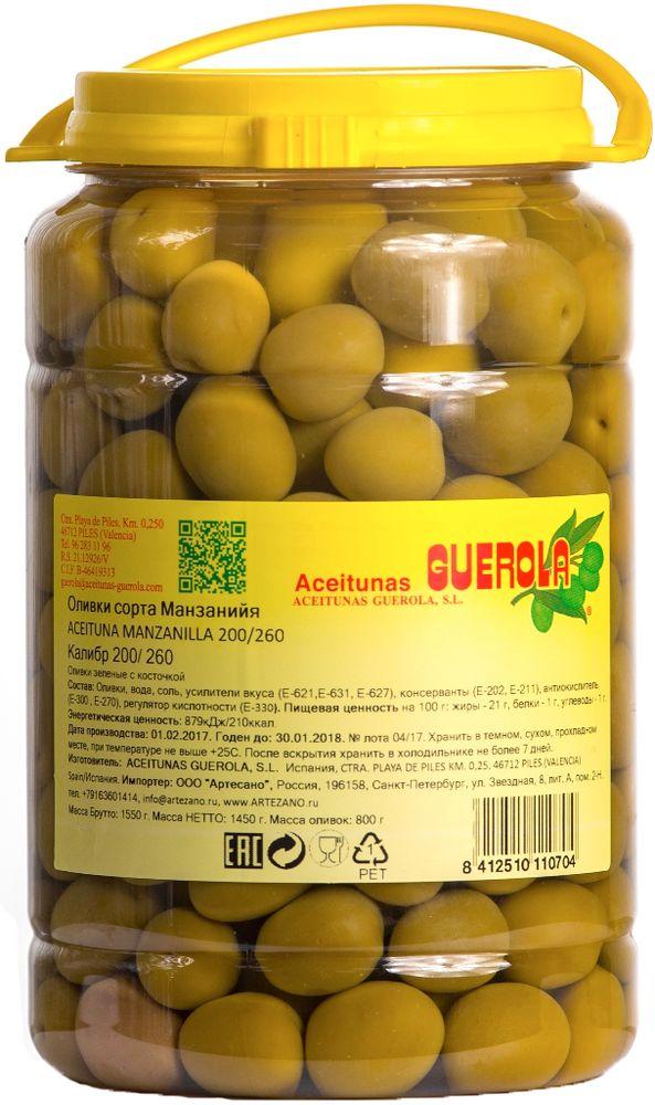 Guerola оливки зеленые Манзанийя калибр 200/260 с косточкой, 800 г 8412510110704