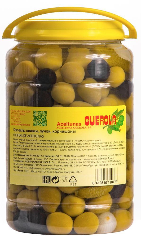 Guerola коктейль из оливок, корнишонов и лука, 800 г8412510110773Коктейль из оливок, корнишонов и лука от испанской семейной компании GUEROLA, которая была основана еще в конце 19 века в Валенсии Рафаэлем Гуэрола и до сих пор ее возглавляют члены семьи. Предприятие выпускает оливки различных видов по традиционных испанским рецептам, консервированные перцы, каперсы и ассорти из этих продуктов. Прекрасны как самостоятельное блюдо, так и компонент для салатов, пиццы, бутербродов, канапэ, а также в качестве украшения закусок и соусов
