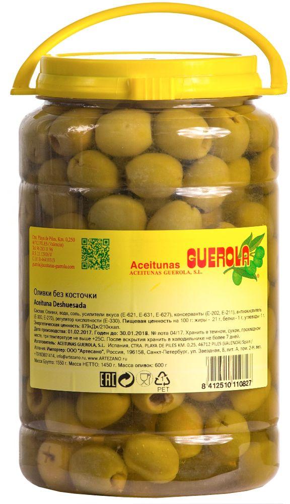 Guerola оливки зеленые Манзанийя калибр 200/220 без косточки, 600 г 8412510110827
