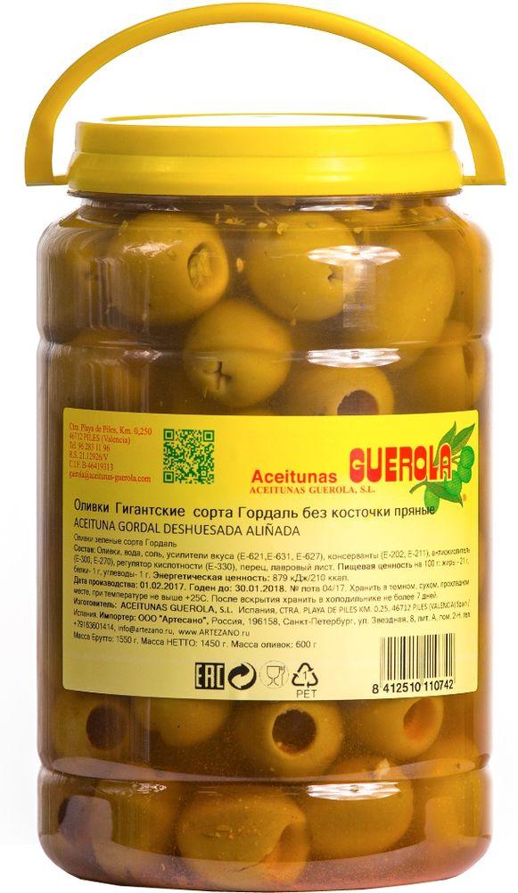 Guerola оливки зеленые Годаль пряные калибр 80/100 без косточки, 600 г 8412510110742