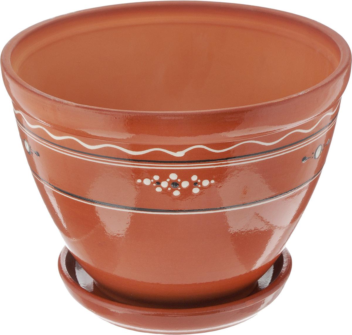 Горшок для цветов Ломоносовская керамика, с поддоном, 3,5 лЛ4818Горшок Ломоносовская керамика изготовлен из высококачественной керамики и оснащен поддоном для стока воды. Внешние стенки изделия покрыты глазурью и оформлены оригинальным рисунком. Изделие прекрасно подойдет для выращивания растений дома и на приусадебных участках. Диаметр (по верхнему краю): 24 см. Высота (с поддоном): 18 см. Размер поддона: 17 х 17 х 3 см.