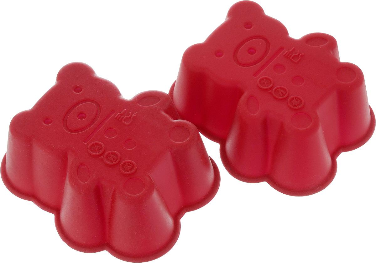 Набор форм для выпечки Oursson, цвет: красный, 2 штBW0855SS/MCНабор Oursson состоит из двух форм, выполненных из силикона. Изделия предназначены для выпечки и заморозки. Формочки выполнены в виде медведя. Силиконовые формы для выпечки имеют много преимуществ по сравнению с традиционными металлическими формами и противнями. Они идеально подходят для использования в микроволновых, газовых и электрических печах при температурах до +220°С. В случае заморозки до -20°С. Благодаря гибкости и антипригарным свойствам силикона, готовое изделие легко извлекается из формы. Силикон абсолютно безвреден для здоровья, не впитывает запахи, не оставляет пятен, легко моется. С таким набором Oursson вы всегда сможете порадовать своих близких оригинальной выпечкой. Размер формы: 7,5 х 6,5 х 3 см.