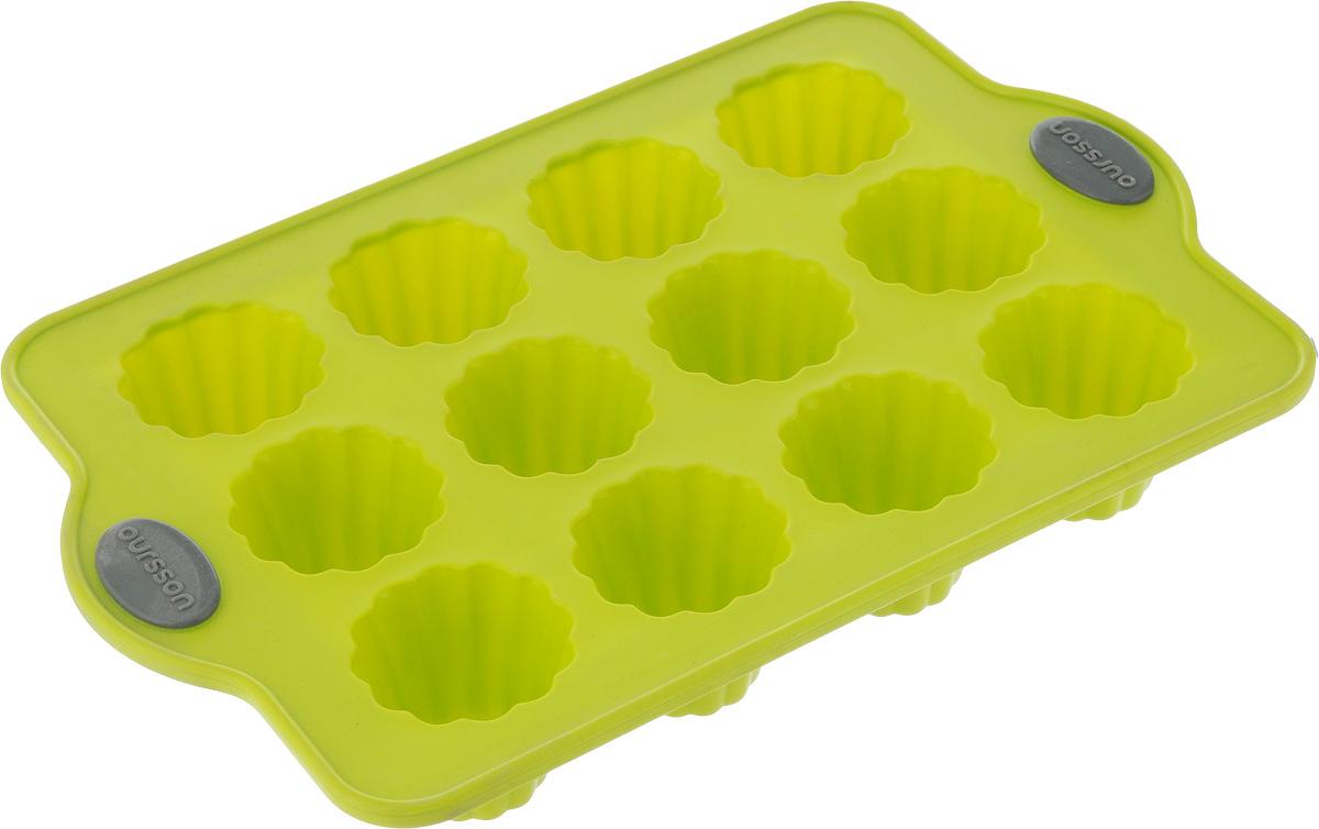 Форма для выпечки Oursson Bon Appetit, силиконовая, цвет: зеленое яблоко, 12 ячеекBW2804S/GAФорма для кексов и желе Oursson Bon Appetit, выполненная из силикона, будет отличным выбором для всех любителей домашней выпечки. Форма имеет 12 ячеек. Форма не провисает, так как расположена на металлическом каркасе. Силиконовые формы для выпечки имеют множество преимуществ по сравнению с традиционными металлическими формами и противнями. Нет необходимости смазывать форму маслом. Она быстро нагревается, равномерно пропекает, не допускает подгорания выпечки с краев или снизу. Материал устойчив к фруктовым кислотам, не ржавеет, на нем не образуются пятна. Форма может быть использована в духовках и микроволновых печах (выдерживает температуру от -20°С до +220°С), также ее можно помещать в морозильную камеру и холодильник. Размер формы: 28 х 18 х 4 см. Размер ячейки: 4,5 х 4,5 х 4 см.