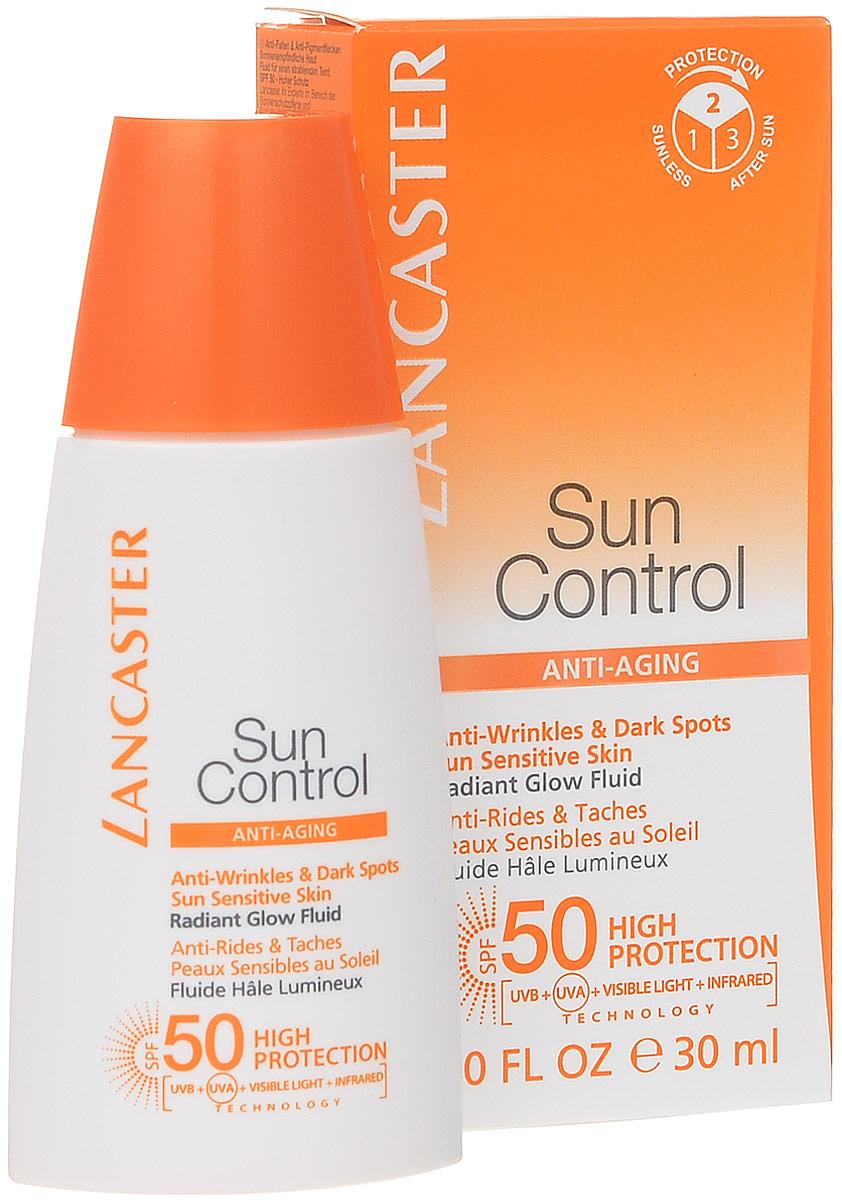 Lancaster Sun Control Солнцезащитный флюид Сияющий загар для лица против морщин и пигментных пятен для чувствительной к солнечному воздействию кожи. фактор защиты-540377637100Легкий флюид для максимального комфорта и защиты кожи от солнца SPF 50+ обеспечивает максимальную защиту для лица, шеи и декольте идеально защищают кожу от старения, вызванного солнцем.