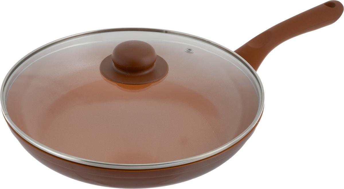 Сковорода NaturePan Ceramic, с крышкой, с керамическим покрытием. Диаметр 26 смCrP26/крСковорода NaturePan Ceramic выполнена из алюминия и имеет современное керамическое покрытие Greblon Ceramic. Благодаря такому покрытию, внутренняя и внешняя поверхность сковороды хорошо моется, устойчива к царапинам. Усиленное кованное дно служит для равномерного распределения тепла и лучшего приготовления пищи. Эргономичная пластиковая ручка не скользит в руке и приятна на ощупь. Крышка, изготовленная из термостойкого стекла, оснащена ручкой и пароотводом. Такая крышка позволяет следить за процессом приготовления пищи без потери тепла. Она плотно прилегает к краю посуды, сохраняя аромат блюд. Яркие цвета внутреннего и внешнего покрытия подчеркивают изысканность блюда при приготовлении и создают атмосферу комфорта и уюта на любой кухне. Диаметр: 26 см. Высота стенки: 4,5 см. Длина ручки: 18,5 см. Диаметр крышки (по наружному краю): 26 см.