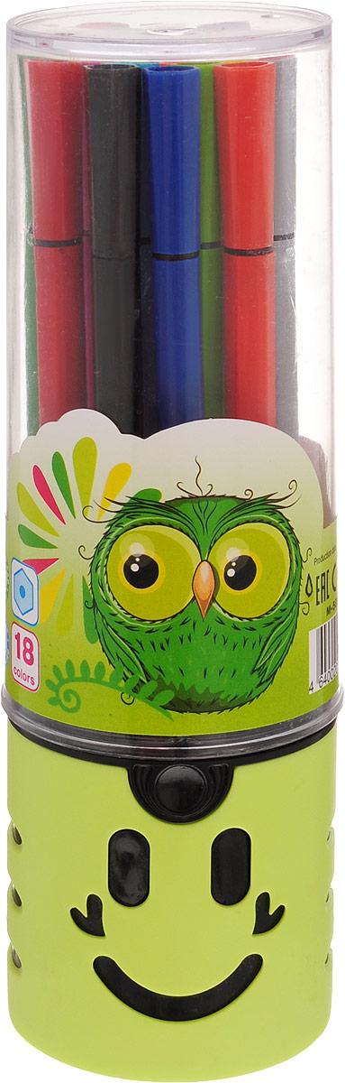 Mazari Набор фломастеров Junior 18 цветов цвет футляра салатовыйМ-5056-18_салатовыйЯркие фломастеры Mazari Junior помогут маленькому художнику раскрыть свой творческий потенциал, рисовать и раскрашивать яркие картинки, развивая воображение, мелкую моторику и цветовосприятие. В наборе 18 разноцветных фломастеров. Корпусы выполнены из пластика. Чернила на водной основе нетоксичны, благодаря чему полностью безопасны для ребенка и имеют яркие, насыщенные цвета. Если маленький художник запачкался - не беда, ведь фломастеры отстирываются с большинства тканей. Вентилируемый колпачок надолго сохранит яркость цветов. Набор фломастеров упакован в удобный пластиковый пенал, оформленный изображением забавной мордочки.