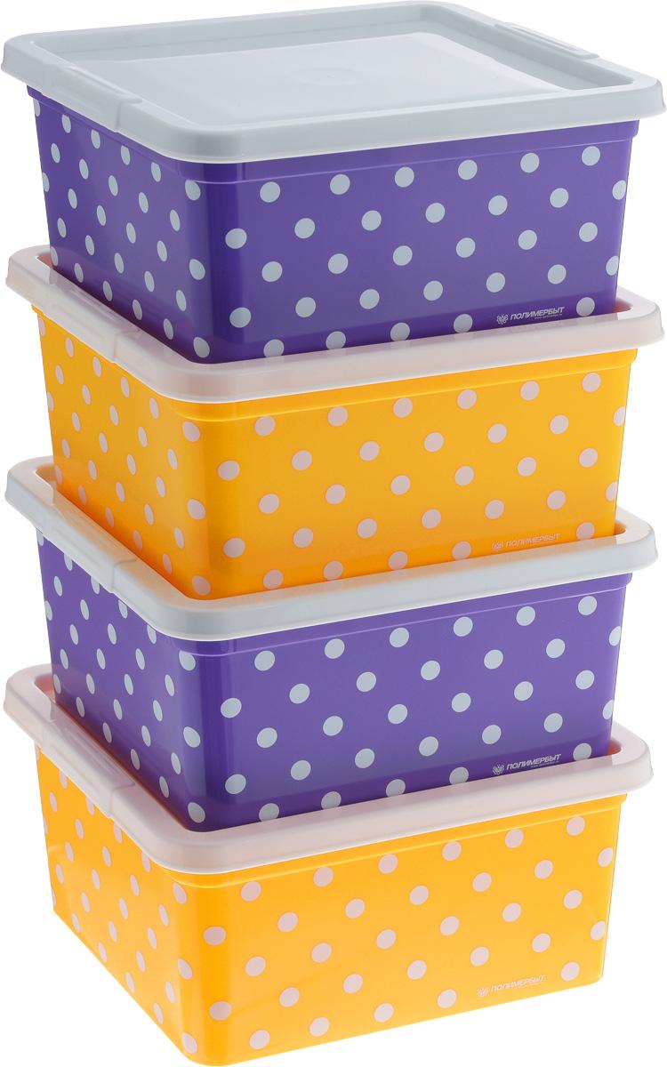 Набор контейнеров для мелочей Полимербыт Горох, цвет: фиолетовый, желтый, белый, 4 штSGHPBKP57Набор Полимербыт Горох, состоящий из четырех контейнеров, выполнен из высококачественного цветного пластика и декорирован принтом в горох. Изделия оснащены крышками. Контейнеры очень вместительные и помогут вам хранить все необходимые мелочи в одном месте.