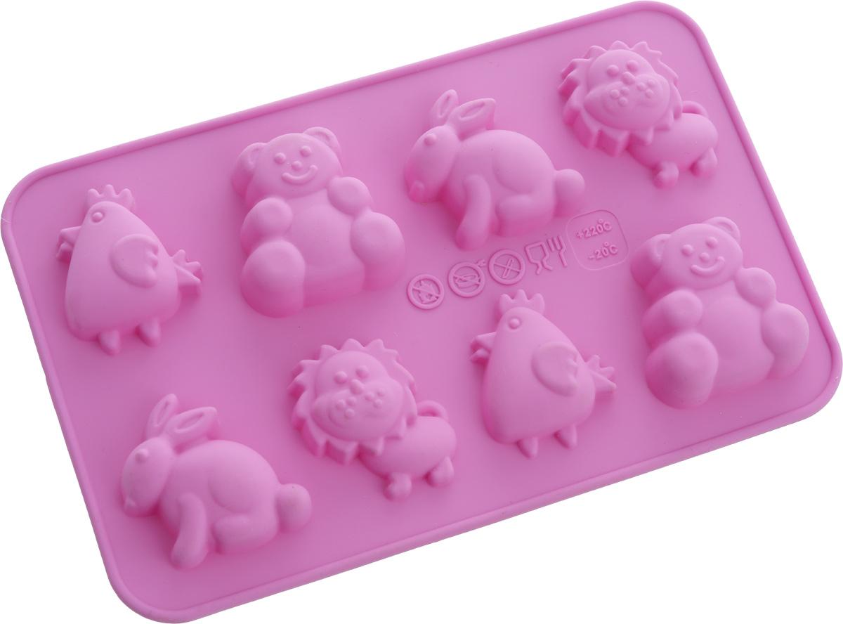 Форма для выпечки Oursson Смешные животные, силиконовая, цвет: фиолетовый, 8 ячеекBW1813S/ROФорма Oursson Смешные животные, изготовленная из высококачественного силикона, содержит 8 ячеек в виде животных. Форма предназначена для приготовления выпечки или шоколада. Выдерживает температуру от -20°С до + 220°С. Изделие можно мыть в посудомоечной машине. Можно использовать в микроволновой печи, духовке и морозильной камере. Количество ячеек: 8 шт. Размер формы: 17,5 х 11 х 1,7 см. Размер ячейки: 4 х 4 х 1,7 см.
