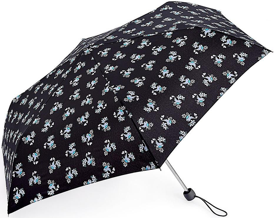 Зонт женский Fulton, механический, 3 сложения, цвет: черный. L553-3372L553-3372 SweetheartBirdyСтильный механический зонт Fulton имеет 3 сложения, даже в ненастную погоду позволит вам оставаться стильной. Легкий, но в тоже время прочный алюминиевый каркас состоит из восьми спиц с элементами из фибергласса. Купол зонта выполнен из прочного полиэстера с водоотталкивающей пропиткой. Рукоятка закругленной формы, разработанная с учетом требований эргономики, выполнена из каучука. Зонт имеет механический способ сложения: и купол, и стержень открываются и закрываются вручную до характерного щелчка.