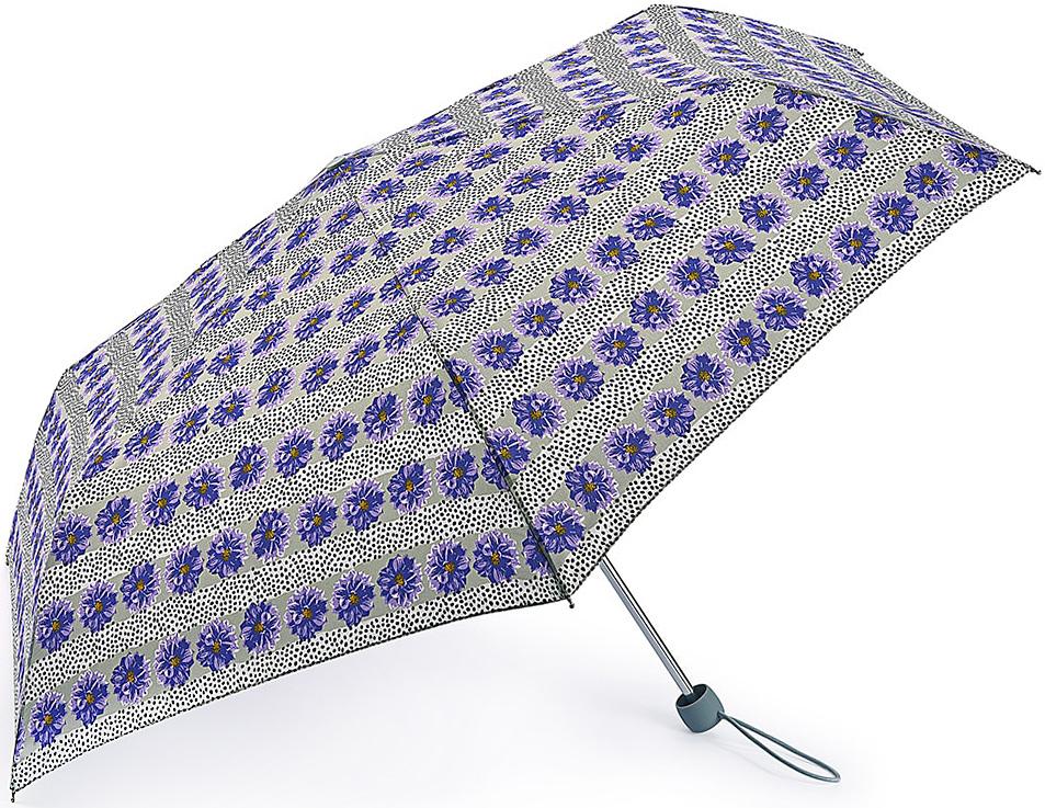 Зонт женский Fulton, механический, 3 сложения, цвет: светло-серый, сиреневый. L553-3374L553-3374 TropicalStripeСтильный механический зонт Fulton имеет 3 сложения, даже в ненастную погоду позволит вам оставаться стильной. Легкий, но в тоже время прочный алюминиевый каркас состоит из восьми спиц с элементами из фибергласса. Купол зонта выполнен из прочного полиэстера с водоотталкивающей пропиткой. Рукоятка закругленной формы, разработанная с учетом требований эргономики, выполнена из каучука. Зонт имеет механический способ сложения: и купол, и стержень открываются и закрываются вручную до характерного щелчка.