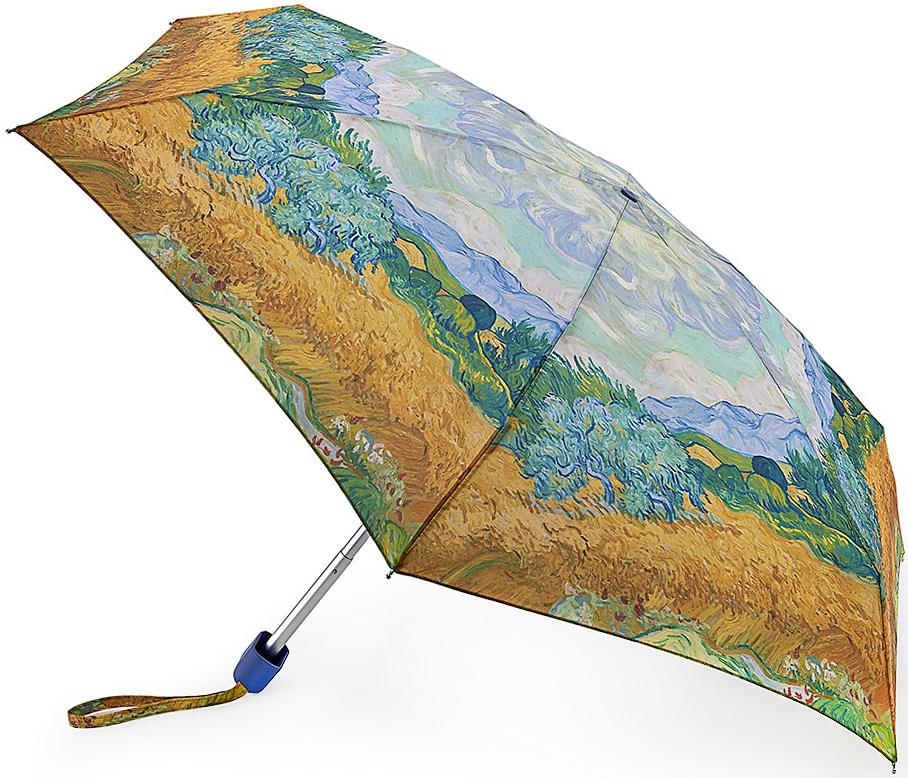 Зонт женский Fulton, механический, 5 сложений, цвет: золотистый, голубой. L794-2729L794-2729 VanGoghWheatfieldСтильный механический зонт Fulton имеет 5 сложений, даже в ненастную погоду позволит вам оставаться стильной. Легкий, но в тоже время прочный алюминиевый каркас состоит из шести спиц с элементами из фибергласса. Купол зонта выполнен из прочного полиэстера с водоотталкивающей пропиткой. Рукоятка закругленной формы, разработанная с учетом требований эргономики, выполнена из каучука. Зонт имеет механический способ сложения: и купол, и стержень открываются и закрываются вручную до характерного щелчка.