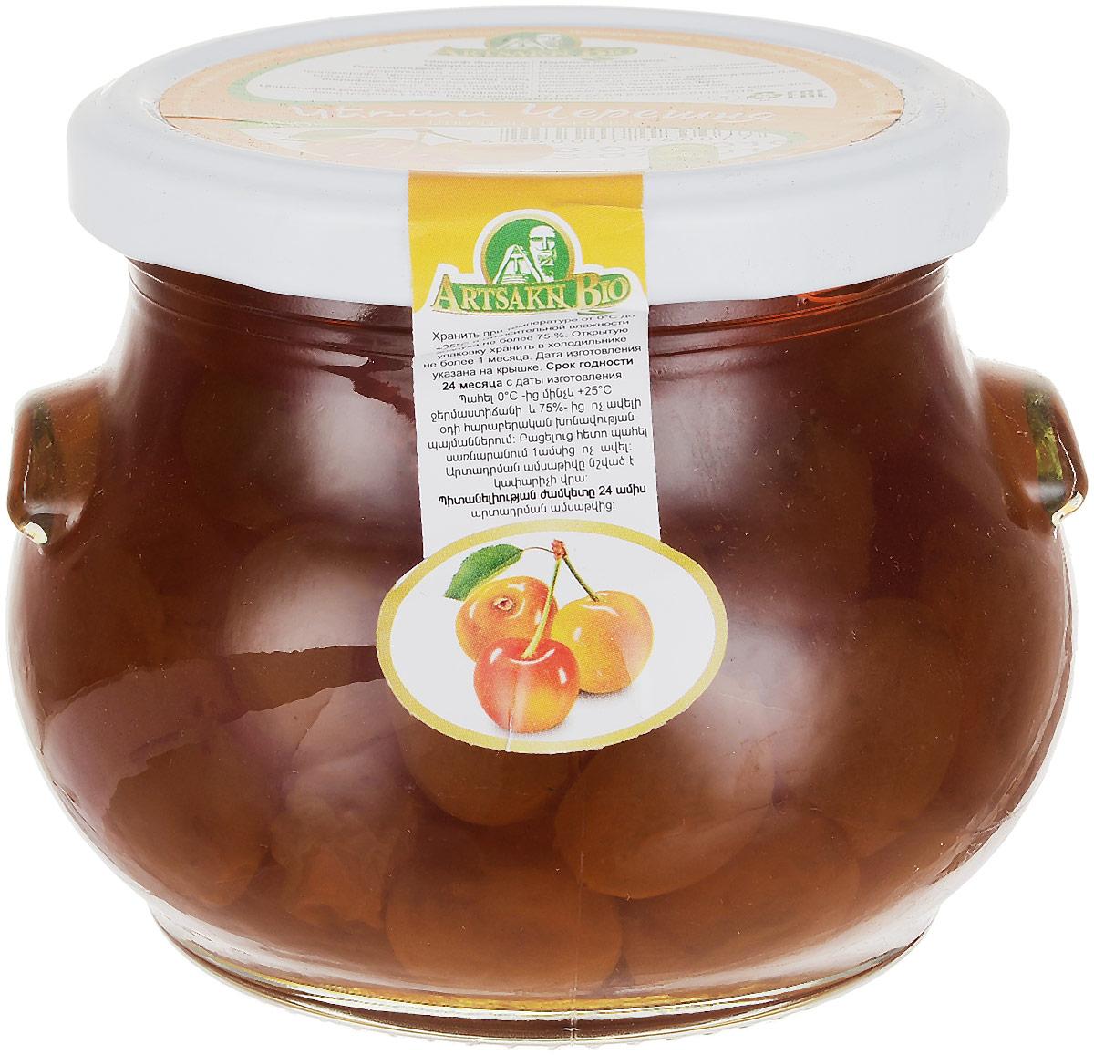 Artsakh Bio варенье из черешни, 450 г130211020009Черешня пользуется огромной популярностью. Это прародительница вишни. Плоды черешни имеют сердцевидную форму. Окраска светлая желтая, почти белая. В их состав входят сахар, органические кислоты, микроэлементы, макроэлементы (йод, железо, кальций), витамины А, Е, В, С. Пектиновые вещества, находящиеся в ягоде, благотворно влияют на пищеварение, а антоцианы защищают организм человека от свободных радикалов. Полезные ягоды помогают быстро избавиться от отеков. Варенье Artsakh Bio очень вкусное, янтарного цвета. Уважаемые клиенты! Обращаем ваше внимание, что полный перечень состава продукта представлен на дополнительном изображении.