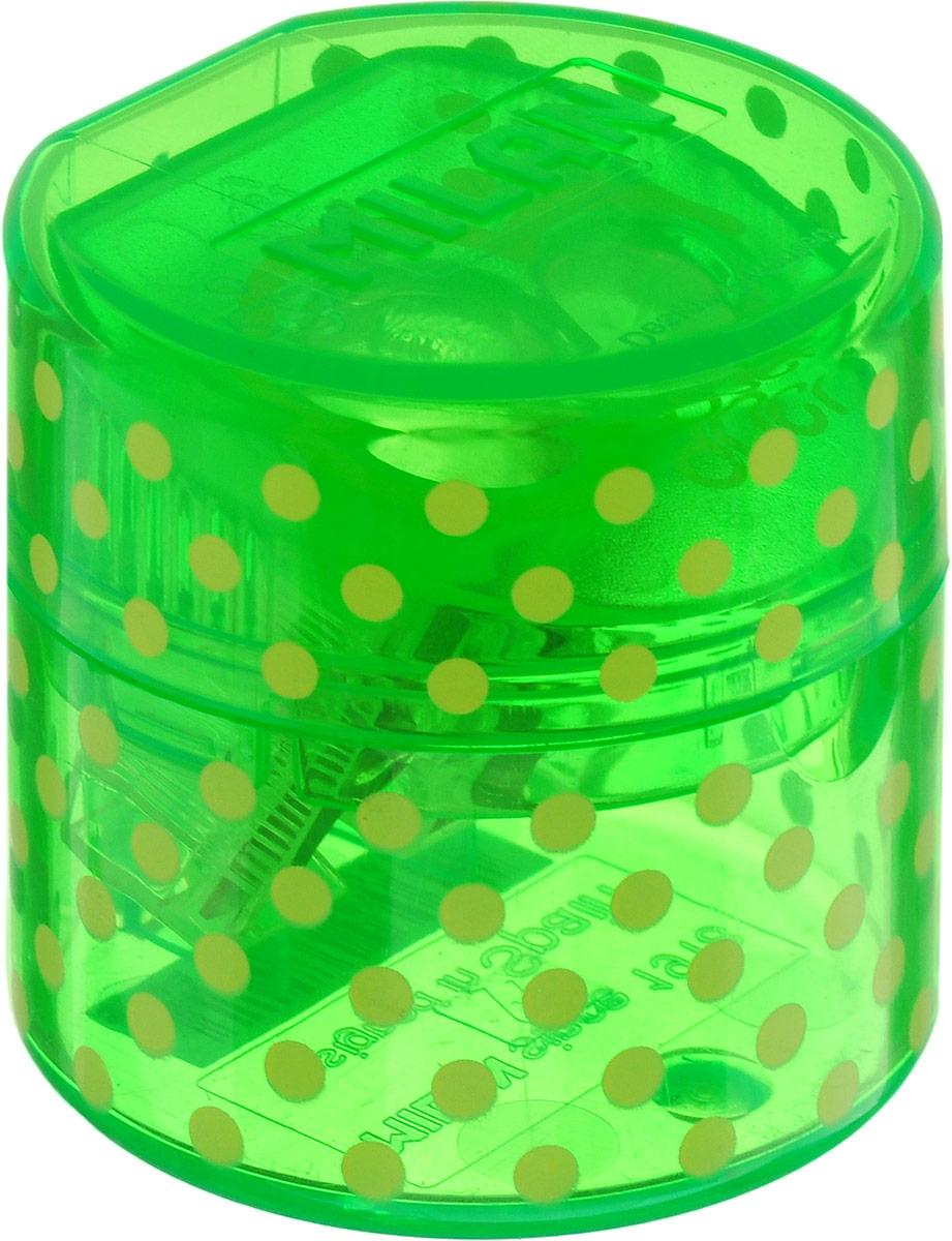 Milan Точилка Duet с контейнером цвет зеленый20155212_зелёныйУдобная точилка с контейнером Milan Duet оснащена безопасной системой заточки. Эта система предотвращает отделение лезвия от точилки. Идеально подходит для использования в школах. Стальное лезвие острое и устойчиво к повреждению. Идеально подходит для заточки графитовых и цветных карандашей