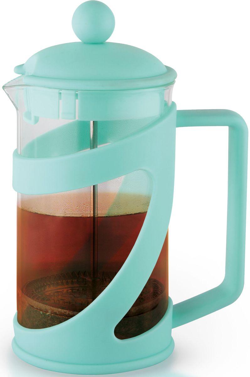 Заварочный чайник Fissman Arabica, с поршнем, цвет: аквамарин, 600 мл. 9040FP-9040.600