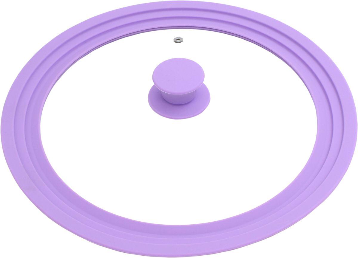 Многоразмерная крышка Fissman Triplex, с силиконовым ободком, цвет: лиловый, 28/30/32 см. 9946GL-9946.28