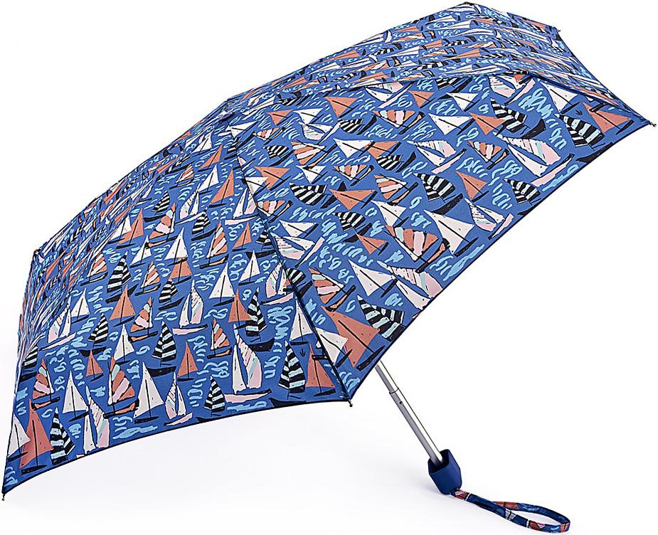 Зонт женский Fulton, механический, 5 сложений, цвет: синий. L501-3365L501-3365 SailAwayСтильный механический зонт Fulton имеет 5 сложений, даже в ненастную погоду позволит вам оставаться стильной. Легкий, но в тоже время прочный алюминиевый каркас состоит из шести спиц с элементами из фибергласса. Купол зонта выполнен из прочного полиэстера с водоотталкивающей пропиткой. Рукоятка закругленной формы, разработанная с учетом требований эргономики, выполнена из каучука. Зонт имеет механический способ сложения: и купол, и стержень открываются и закрываются вручную до характерного щелчка.