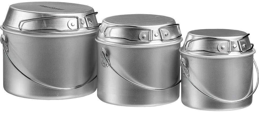 Набор котелков Boyscout Туристический, с универсальной крышкой-сковородкой, 3 шт61162Для приготовления пищи на пикнике и в походе. Расчитан на 1-2 персоны. В комплект входит три котелка - 1, 2, 3 л с универсальной крышкой-сковородкой.