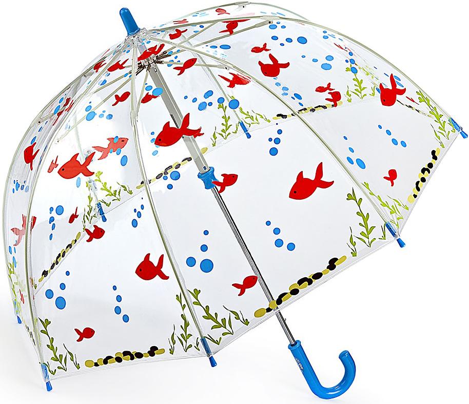 Зонт-трость детский Fulton, механический, цвет: прозрачный, мультиколор. C605-3389C605-3389 GoneFishingЯркий механический зонт-трость Fulton даже в ненастную погоду позволит вашему ребенку оставаться стильным. Каркас зонта включает 8 спиц из фибергласса. Стержень изготовлен из стали. Купол зонта выполнен из износостойкого ПВХ. Рукоятка закругленной формы, разработанная с учетом требований эргономики, выполнена из качественного пластика. Зонт механического сложения: купол открывается и закрывается вручную до характерного щелчка. Такой зонт не только надежно защитит вас от дождя, но и станет стильным аксессуаром, который идеально подчеркнет ваш неповторимый образ.