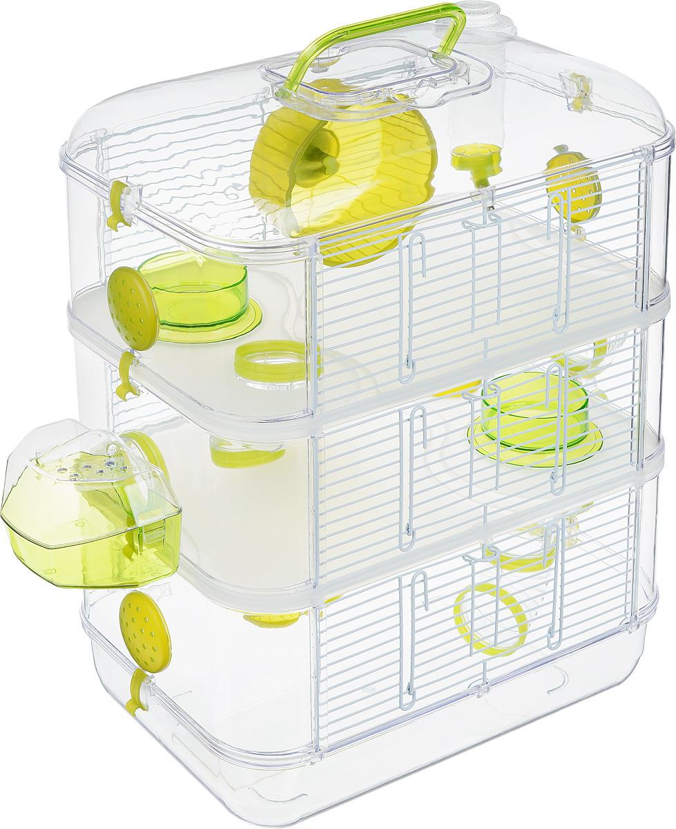Клетка для грызунов Zolux Rody Trio, 3-ярусная, 40 х 26 х 53 см205847Просторная клетка для грызунов Zolux Rody Trio будет служить домом и одновременно местом для экстремальных развлечений. Прозрачные стены и внутренние элементы клетки позволяют наблюдать за животным, где бы оно ни находилось. В комплект входят бутылочка 170 мл, 2 колеса, 2 кормушки, 1 внешнее гнездо, 4 плоских пробки, 7 согнутых труб, 10 соединителей. Также имеется инструкция по сборке на русском языке. Такая клетка станет уединенным личным пространством и уютным домиком для маленького грызуна.