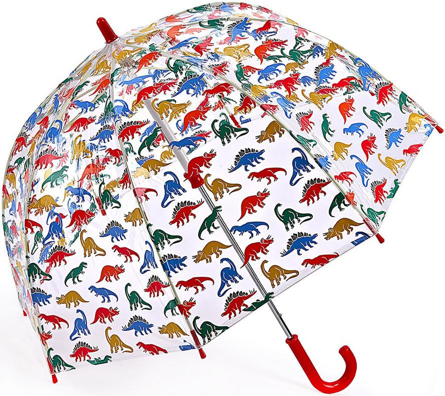 Зонт-трость детский Fulton, механический, цвет: прозрачный, мультиколор. C723-3300C723-3300 DinoStampЯркий механический зонт-трость Fulton даже в ненастную погоду позволит вашему ребенку оставаться стильным. Каркас зонта включает 8 спиц из фибергласса. Стержень изготовлен из стали. Купол зонта выполнен из износостойкого ПВХ. Рукоятка закругленной формы, разработанная с учетом требований эргономики, выполнена из качественного пластика. Зонт механического сложения: купол открывается и закрывается вручную до характерного щелчка. Такой зонт не только надежно защитит вас от дождя, но и станет стильным аксессуаром, который идеально подчеркнет ваш неповторимый образ.