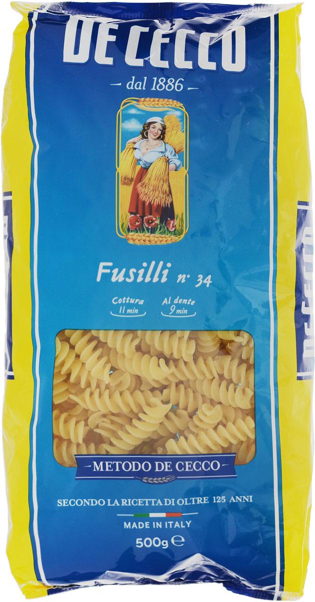 De Cecco паста фузилли №34, 500 г8001250120342Фузилли De Cecco - классические в форме спирали. Этот вид пасты в Италии известен издревле. Фузилли подаются традиционно с неаполитанским рагу или соусами на основе мяса.