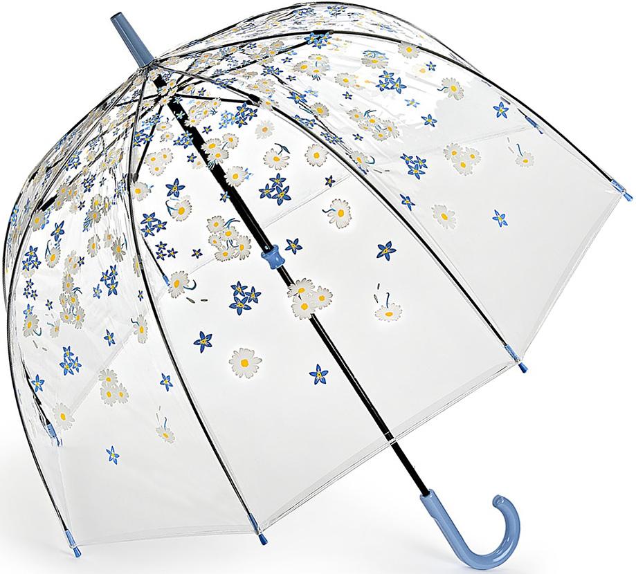 Зонт-трость женский Fulton, механический, цвет: голубой, прозрачный. L042-3387L042-3387 FallingDaisiesЯркий механический зонт-трость Fulton даже в ненастную погоду позволит вам оставаться стильной и элегантной. Каркас зонта включает 8 спиц из фибергласса. Стержень изготовлен из стали. Купол зонта выполнен из износостойкого ПВХ. Рукоятка закругленной формы, разработанная с учетом требований эргономики, выполнена из качественного пластика. Зонт механического сложения: купол открывается и закрывается вручную до характерного щелчка. Такой зонт не только надежно защитит вас от дождя, но и станет стильным аксессуаром, который идеально подчеркнет ваш неповторимый образ.