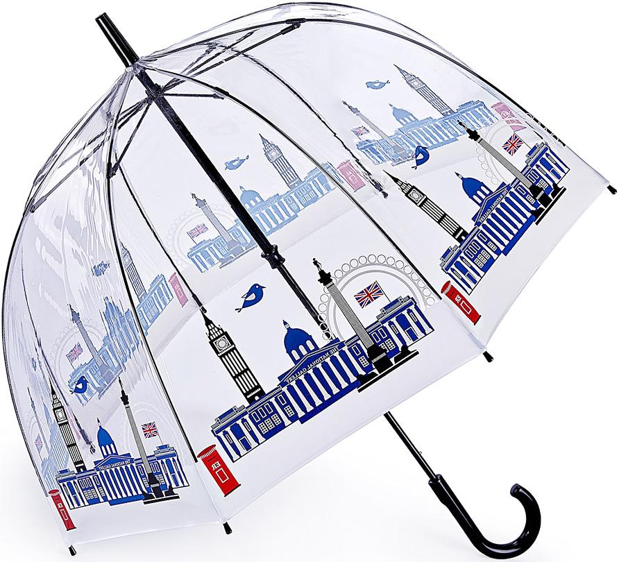 Зонт-трость женский Fulton, механический, цвет: синий, черный. L848-3415L848-3415 NationalGallerySkylineЯркий механический зонт-трость Fulton даже в ненастную погоду позволит вам оставаться стильной и элегантной. Каркас зонта включает 8 спиц из фибергласса. Стержень изготовлен из стали. Купол зонта выполнен из износостойкого ПВХ. Рукоятка закругленной формы, разработанная с учетом требований эргономики, выполнена из качественного пластика. Зонт механического сложения: купол открывается и закрывается вручную до характерного щелчка. Такой зонт не только надежно защитит вас от дождя, но и станет стильным аксессуаром, который идеально подчеркнет ваш неповторимый образ.