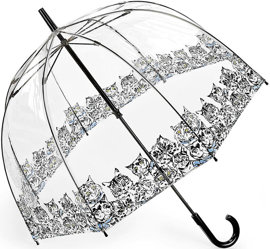 Зонт-трость женский Fulton, механический, цвет: черный, прозрачный. L042-3386L042-3386 BibisCatЯркий механический зонт-трость Fulton даже в ненастную погоду позволит вам оставаться стильной и элегантной. Каркас зонта включает 8 спиц из фибергласса. Стержень изготовлен из стали. Купол зонта выполнен из износостойкого ПВХ. Рукоятка закругленной формы, разработанная с учетом требований эргономики, выполнена из качественного пластика. Зонт механического сложения: купол открывается и закрывается вручную до характерного щелчка. Такой зонт не только надежно защитит вас от дождя, но и станет стильным аксессуаром, который идеально подчеркнет ваш неповторимый образ.