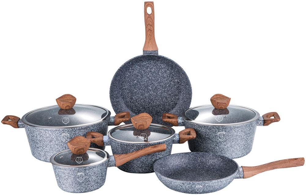 Набор посуды Berlinger Haus, 10 предметов. 1212-ВН1212-ВННабор посуды со стеклянными крышками 10 предметов из кованого алюминия, кастрюли 20 х 10 см, 2,5л, 24 х 12 см, 4 л, 28 х 5.5 см, 6,6 л, ковш 16 х 8.5 см, сковорода 24 х 5 см, сковорода 28 х 5,5 см, кованый алюминий, 3 слоя мраморно-гранитного покрытия, толщина стенок 0,5 см, эргономичная ручка soft touch, индукционное дно, крышка с ручкой-подставкой под кухонные принадлежности, цвет: серый/коричневый. Подходит для всех видов плит: газовых, электрических, стеклокерамических, галогенных, индукционных.